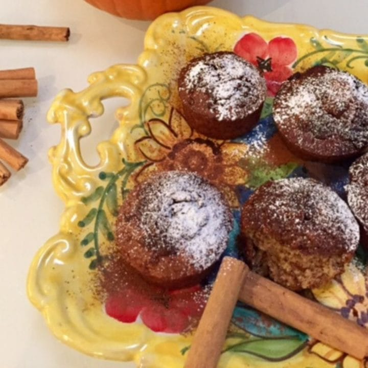 muffins on yellow tray