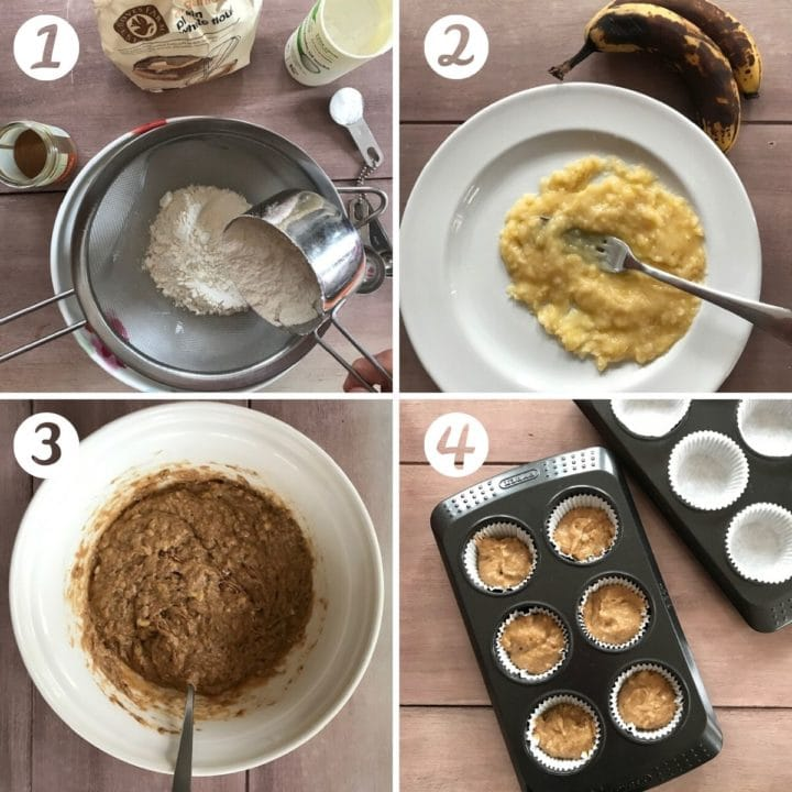 Banana muffin process shots