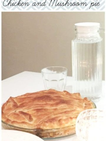 chicken pie in transparent dish and text overlay