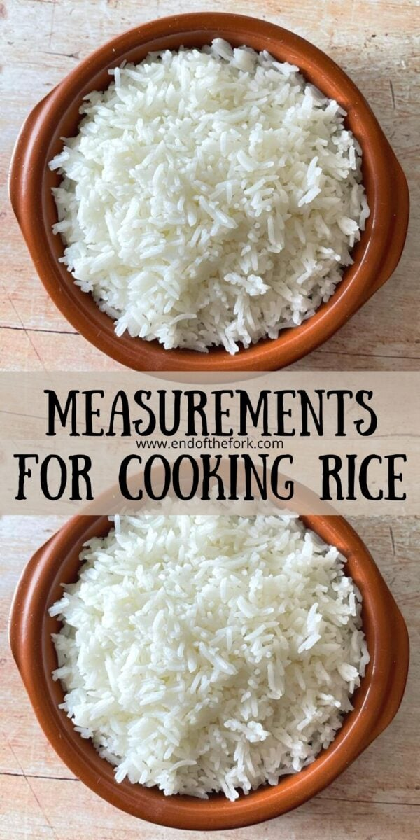 pin of two images of boiled rice in brown bowls.