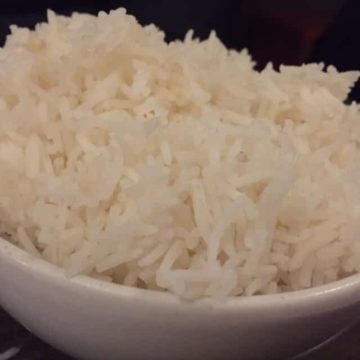 close up view of boiled white rice