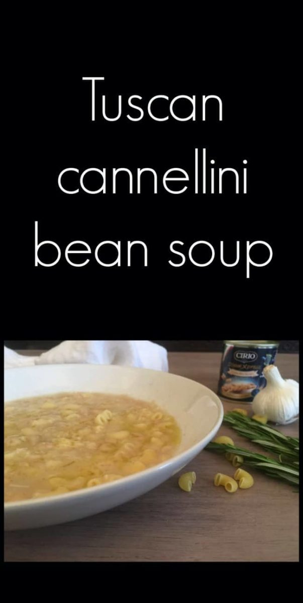 Pin image tuscan cannellini soup in white bowl and text overlay