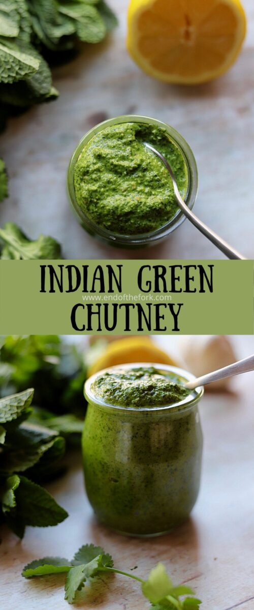 Pin of two images of green chutney in glass jars.