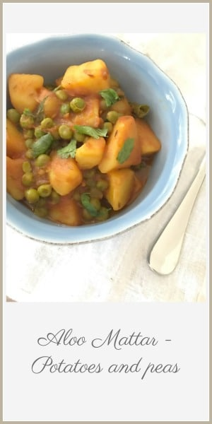 Pin image of aloo muttar in blue bowl and text overlay