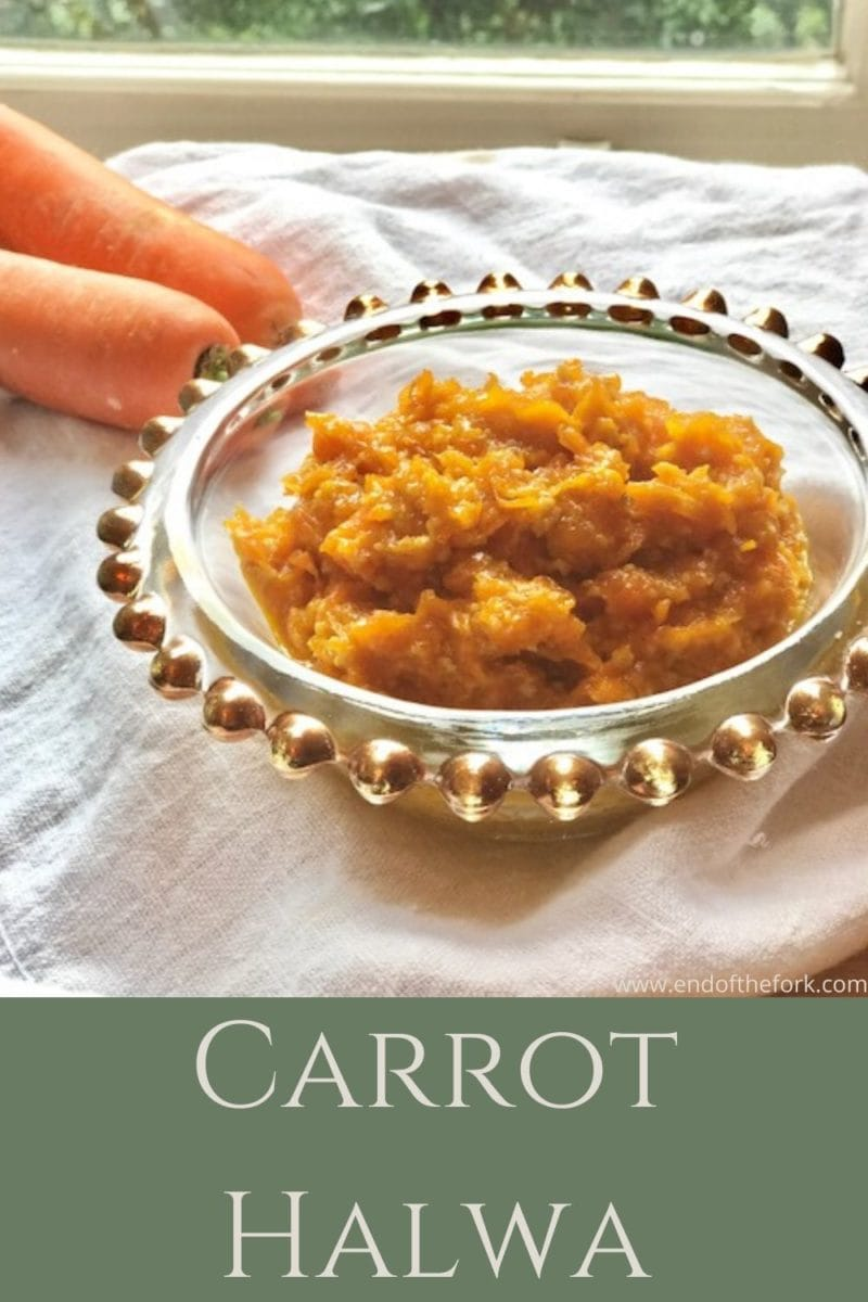 Pin image carrot halwa in bowl with text overlay