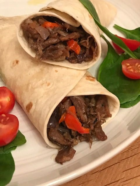 2 Pulled beef wraps on a plate