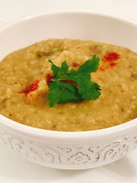 closeup of dal in a small white bowl