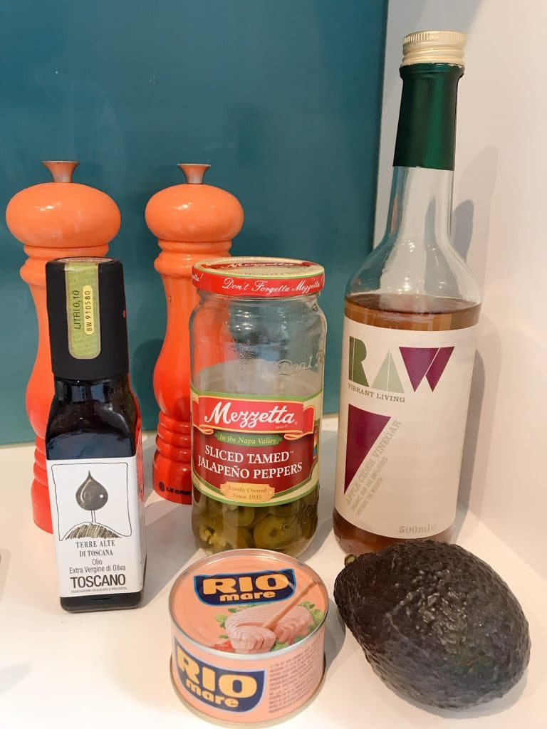 ingredients for the recipe on a white counter