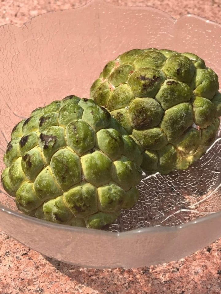 two custard apples in a glass bowl