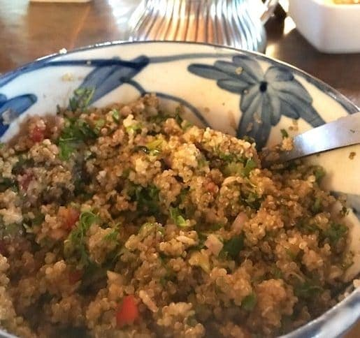 quinoa salad in blue and white bowl