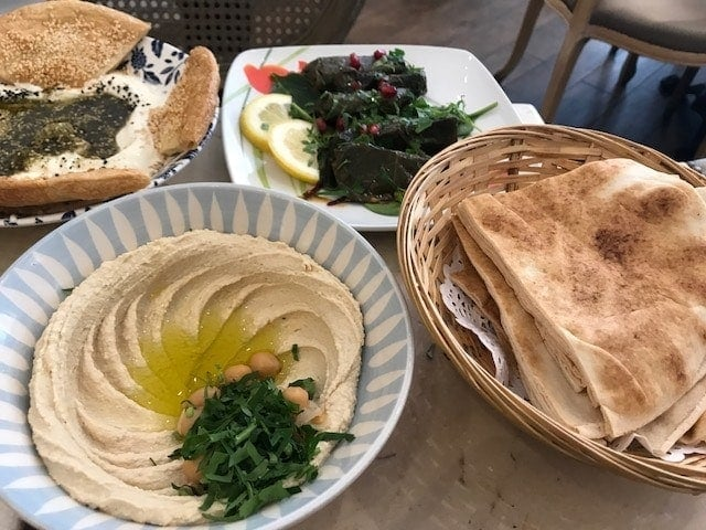Dishes with vine leaves, hummus and pitta