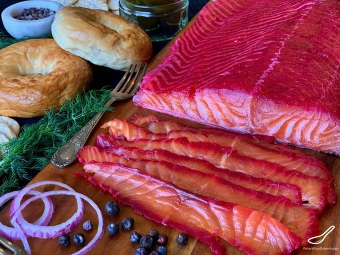 stained red salmon, partially sliced