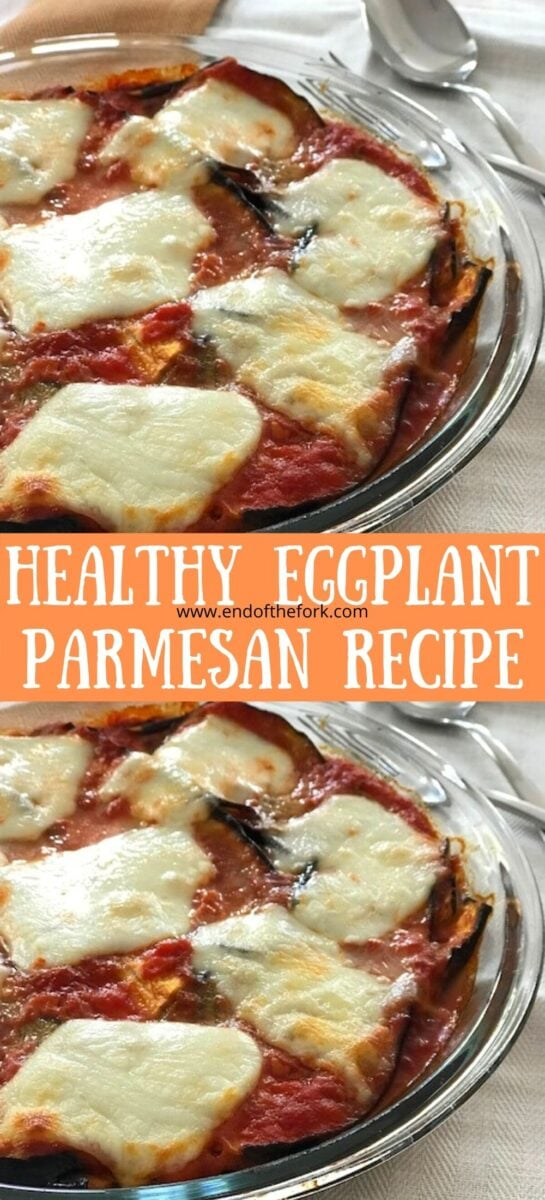 Pin of two images of eggplant parmesan in round dishes.