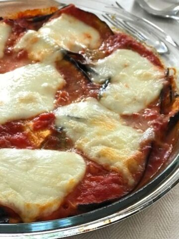 Eggplant parmesan in round glass dish