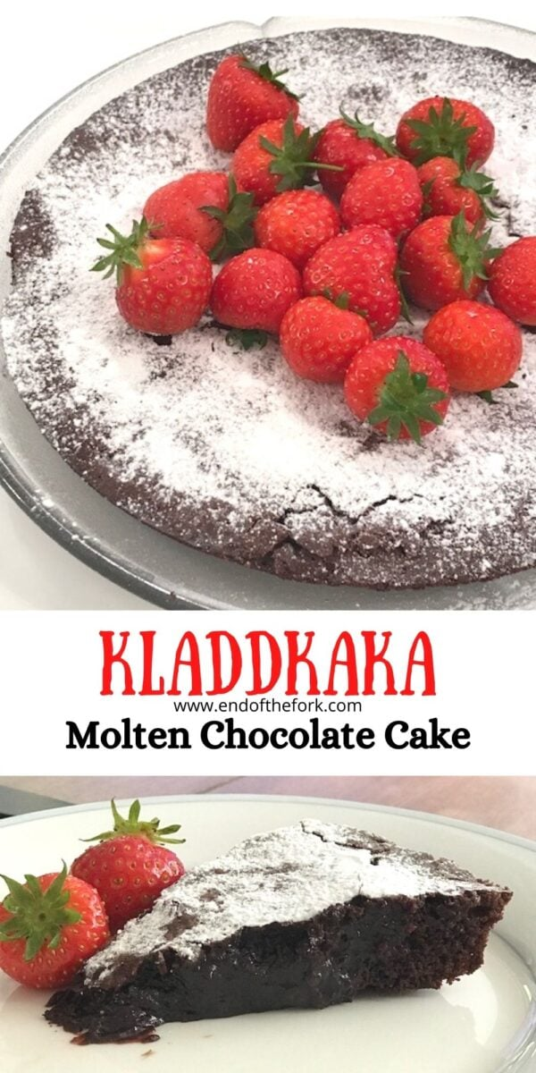 Pin image of Kladdkaka on plate and side view of a slice.