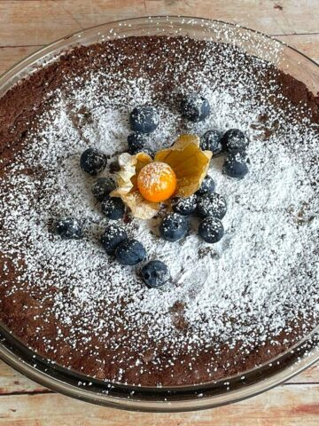 aerial view of kladdkaka with blueberries