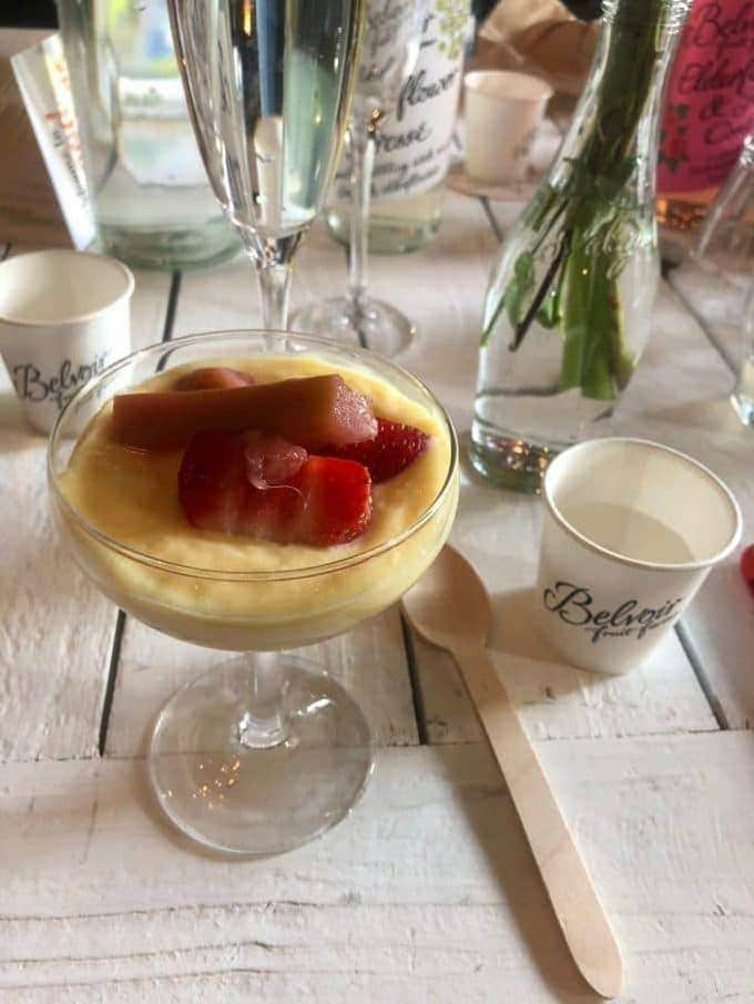 single serving of dessert with accompanying Belvoir drink