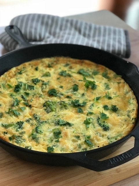frittata in an iron skillet