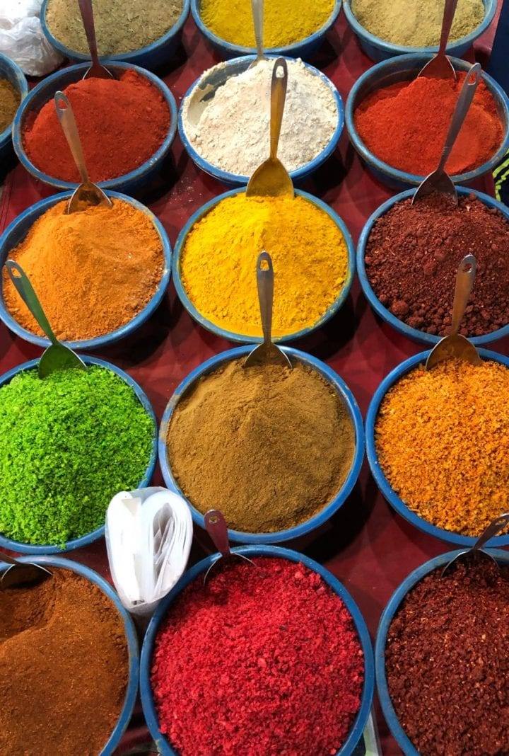 Many bowls of Indian brightly coloured spices