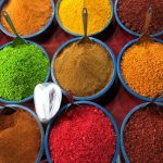 Pin image of bowls of colourful Indian spices and text overlay