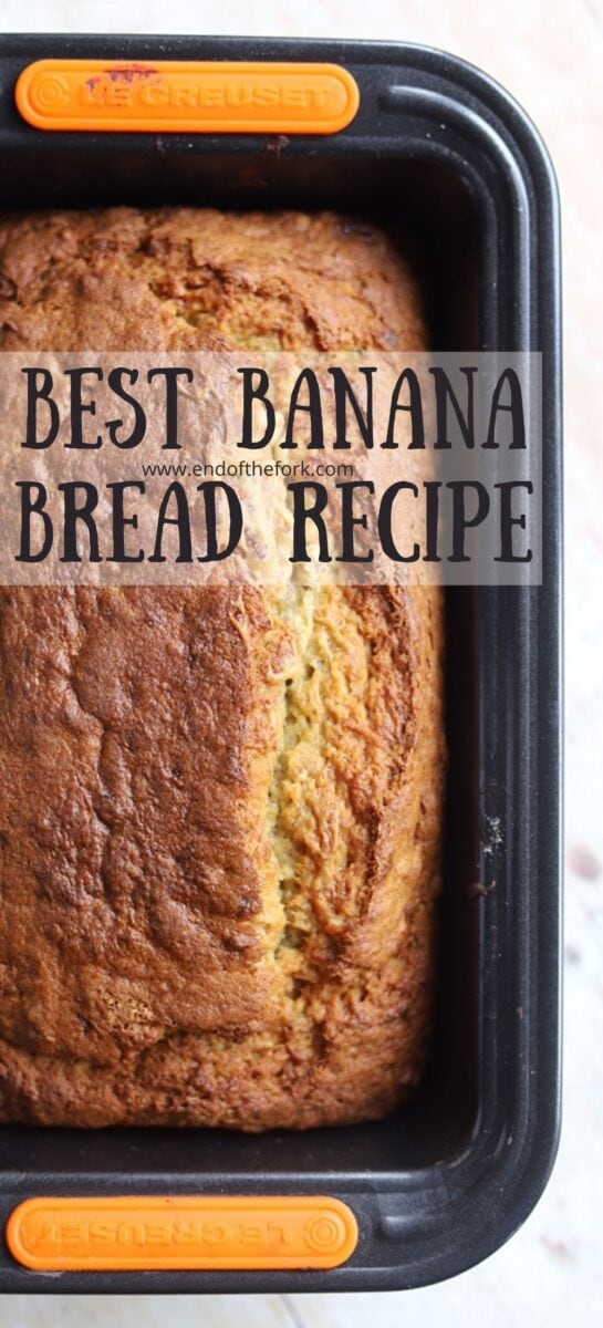 Pin image of banana bread in a loaf tin.