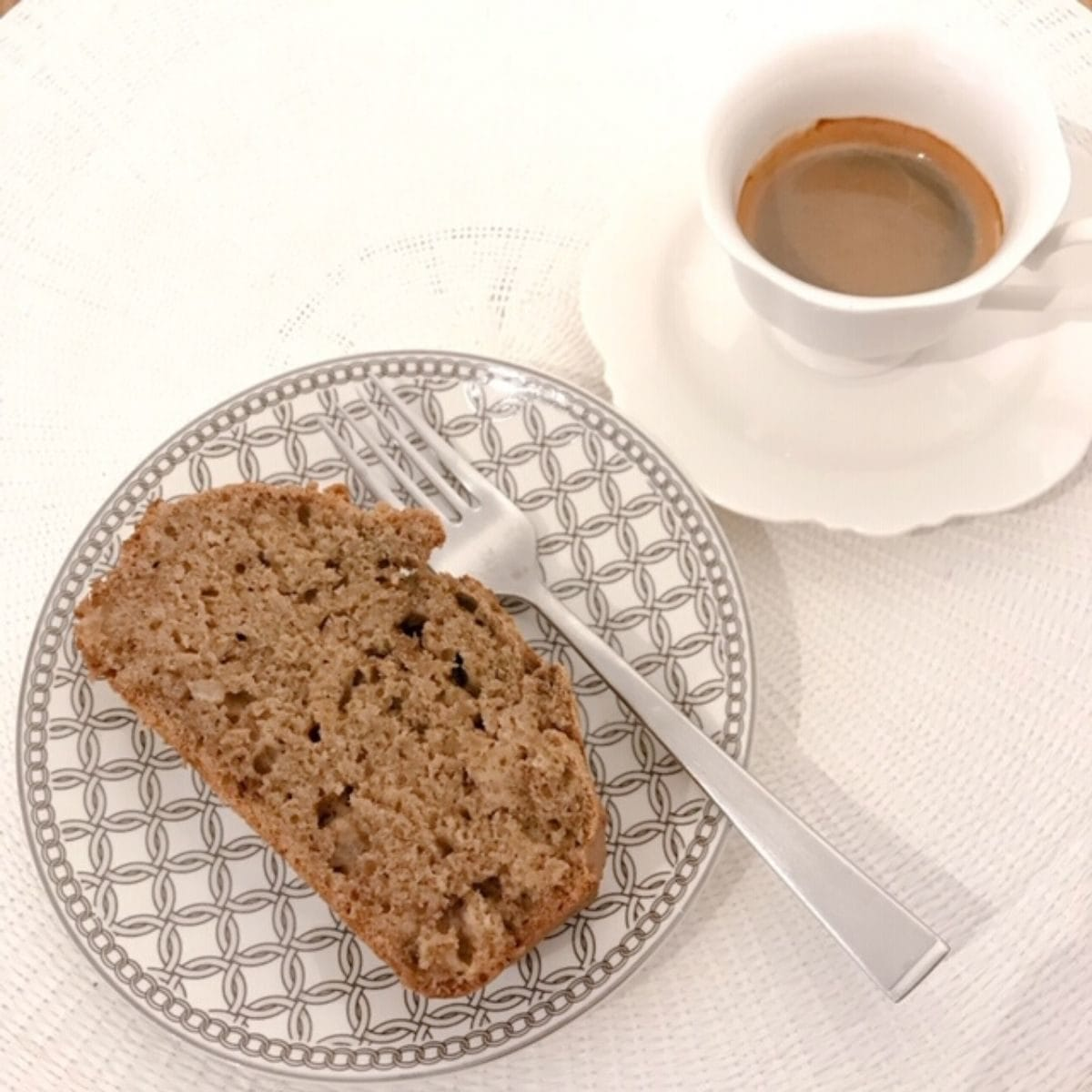 Sliced banana bread with cup of coffee