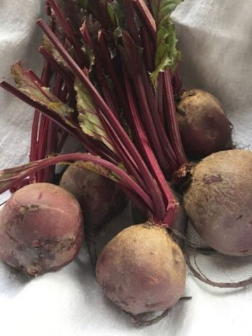 bunch of raw beets on white cloth
