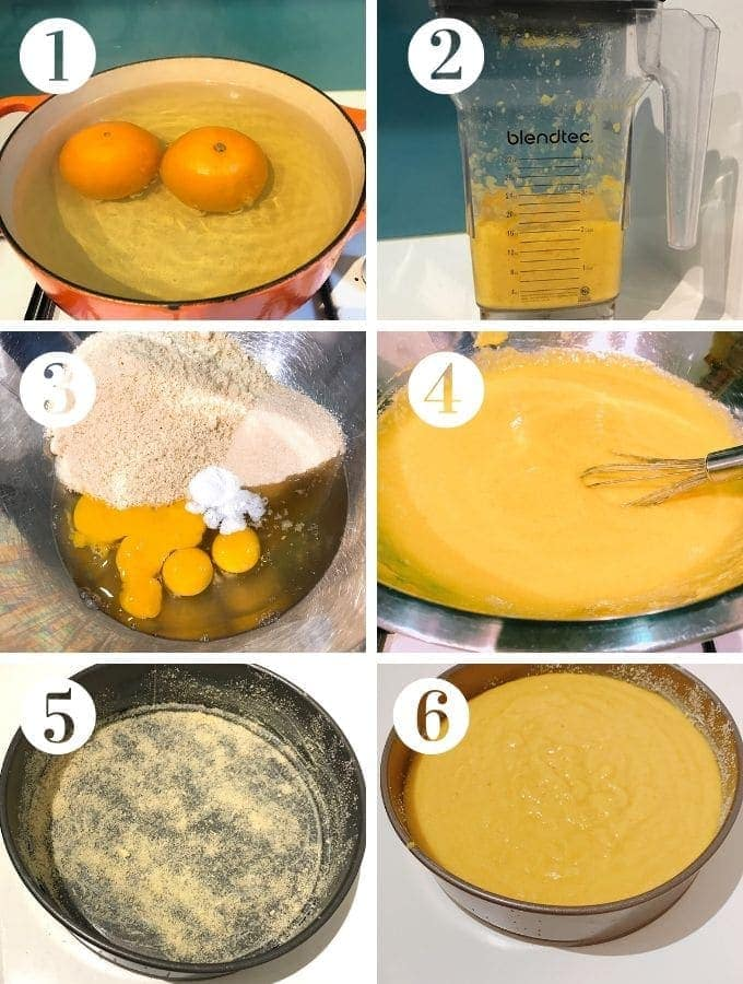 process shots for orange and almond cake