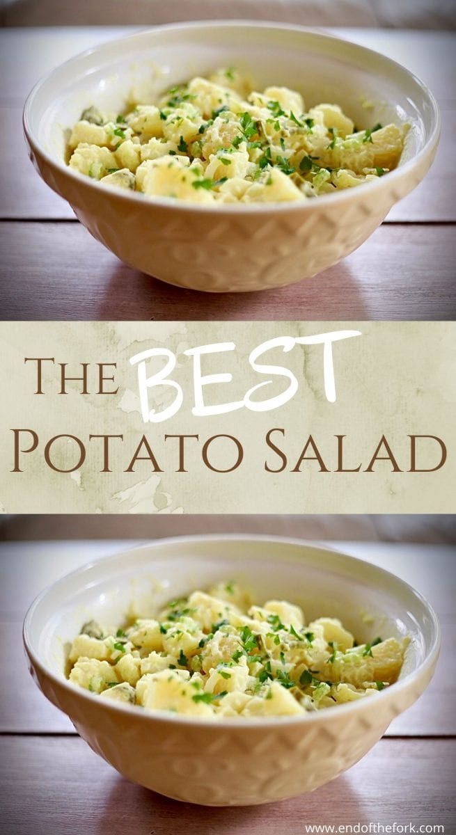 Pin image of potato salad in bowl and text overlay