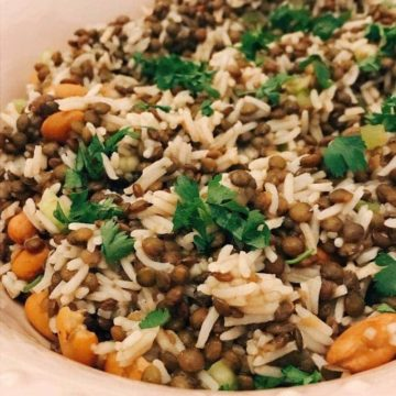 puy lentil salad close up in dish