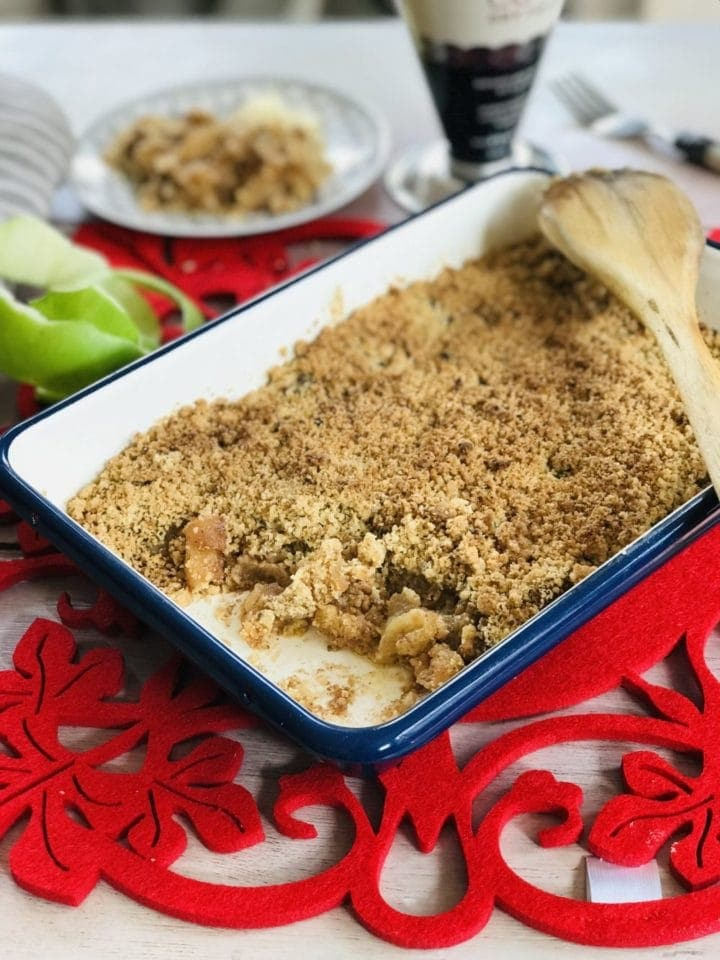 baked apple crumble in Tala baking dish