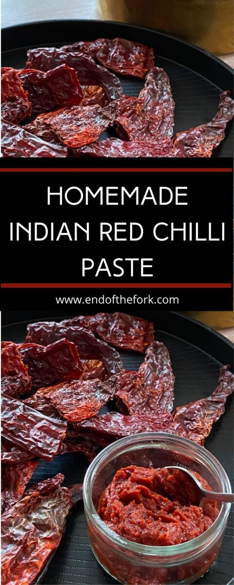 Pin image Kashmiri dried red chillies with small bowl of chilli paste