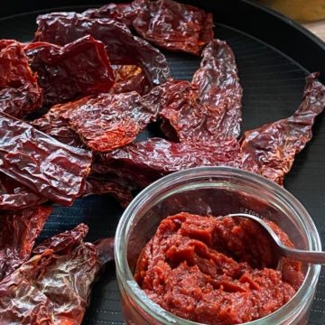 Red chilli paste in bowl on tray with dried chillies