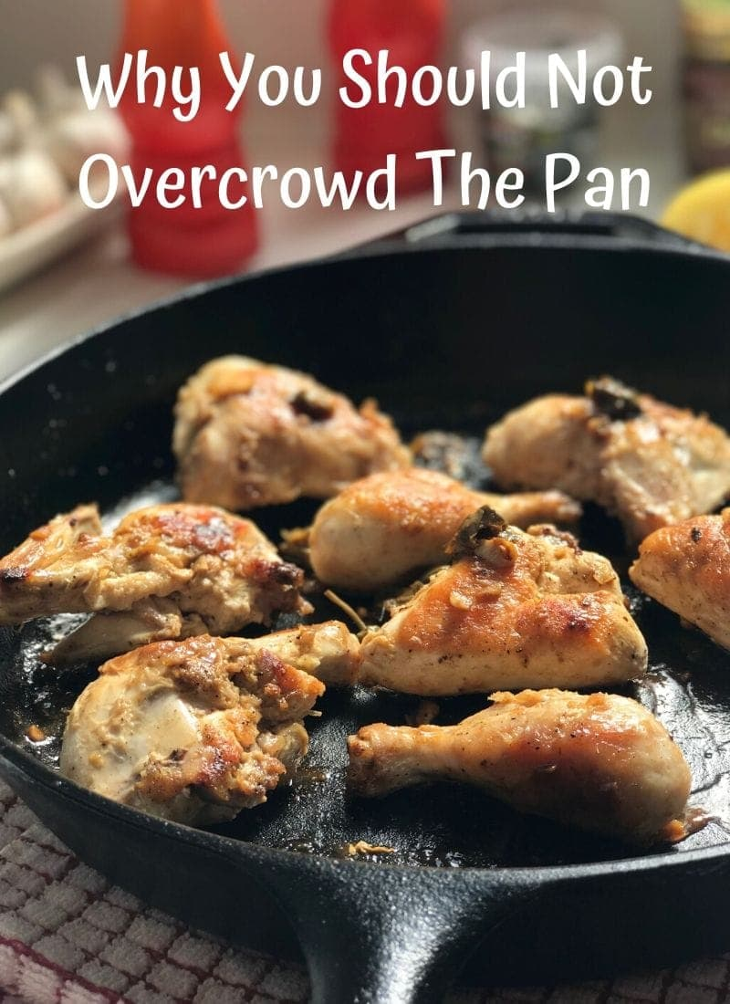 Pin image chicken in iron skillet with text overlay