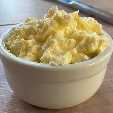 whipped butter in a small white bowl