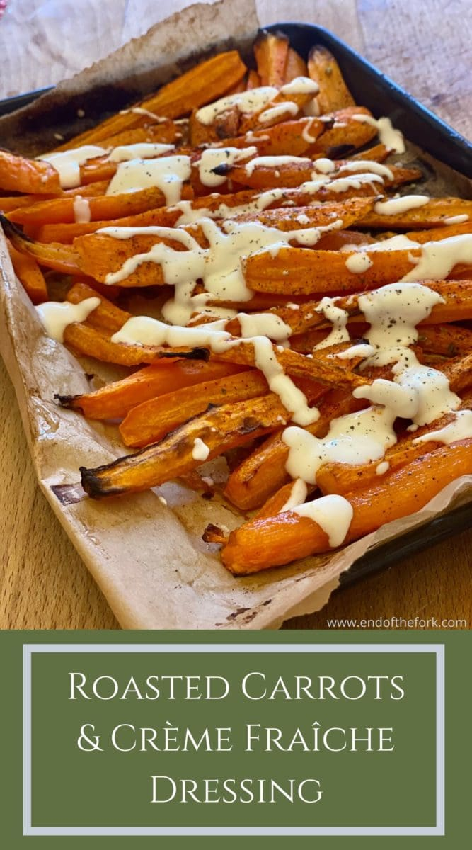 Pin image carrots in roasting tray and text overlay