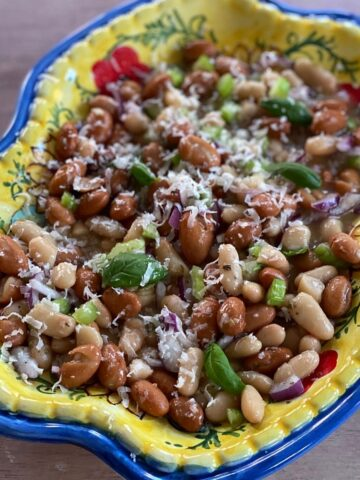 Bean salad on a colorful plater