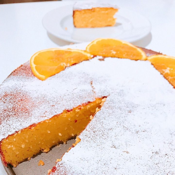 close up of texture of sliced Orange Almond cake