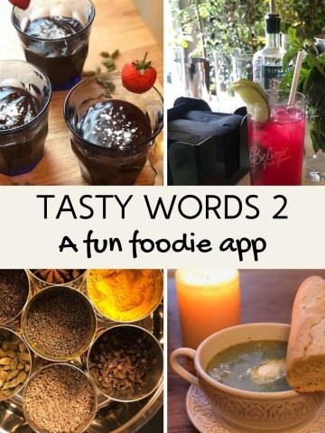4 images of food depicted in the Tasty Words app