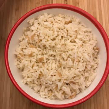 Turkish rice in a bowl on a table