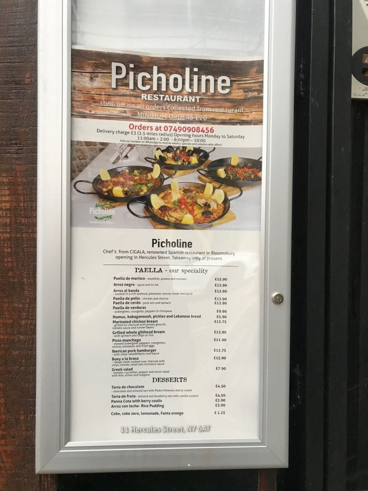 Picholine menu outside restaurant
