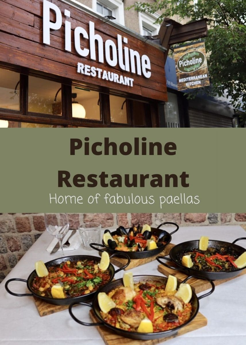 Pin of Picholine exterior and 4 paellas with text overlay