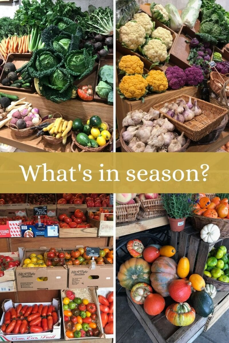 pin image of four photos of seasonal produce