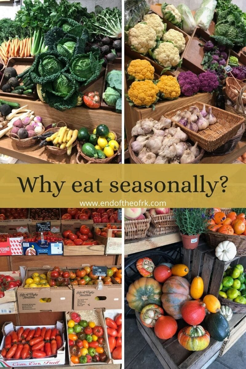 four images of seasonal produce