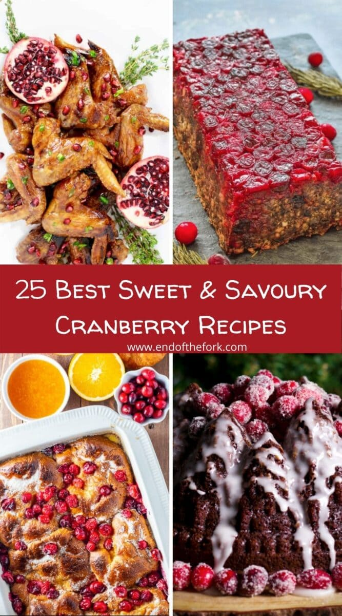 pin of 4 images from cranberry recipes roundup