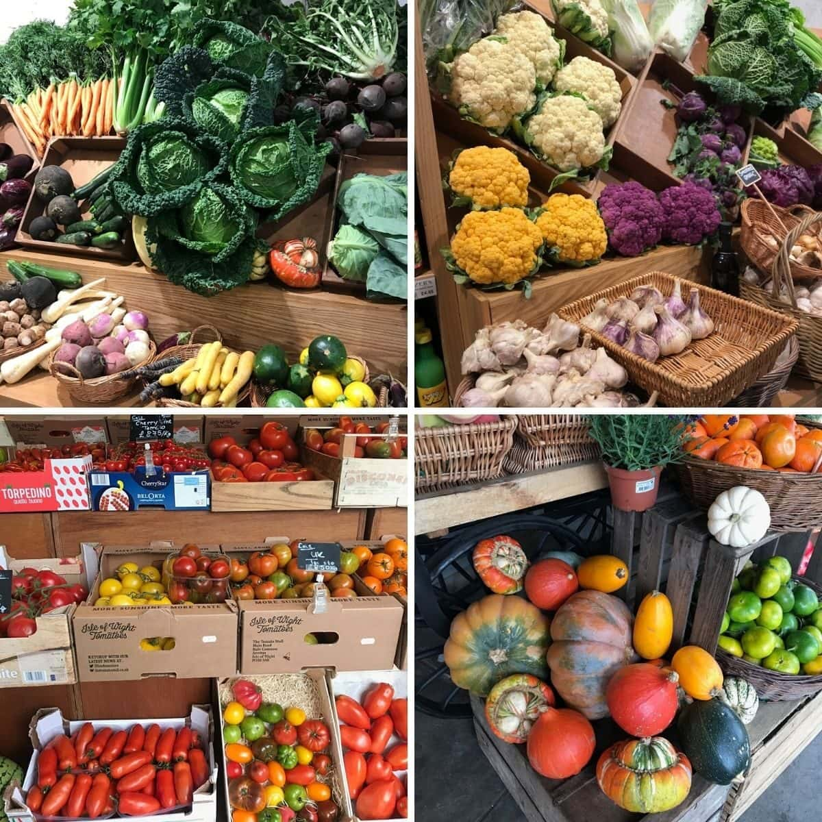 Four photos showing various seasonal produce