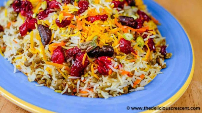 close-up of coloured rice with cranberries