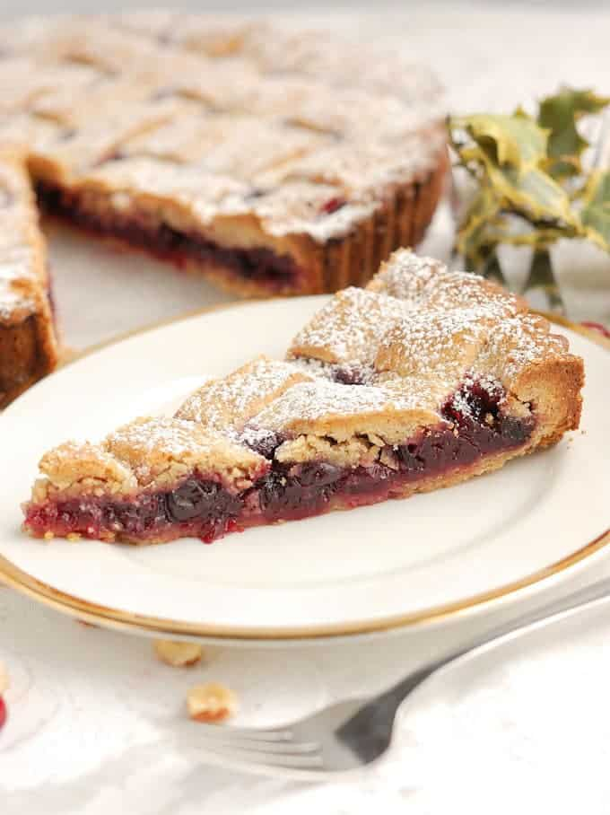 linzer slice on a white plate