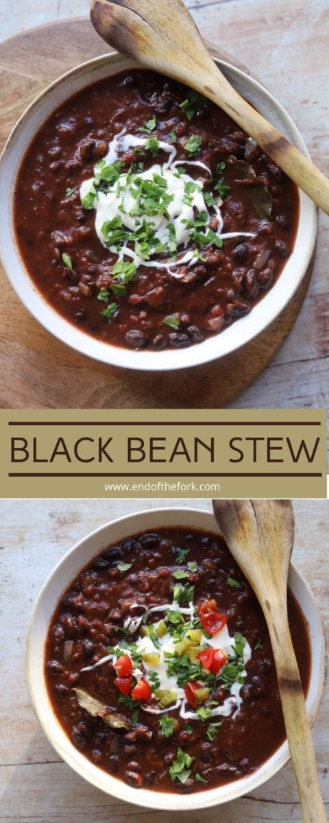 pin of two images of black bean stew with different garnishes