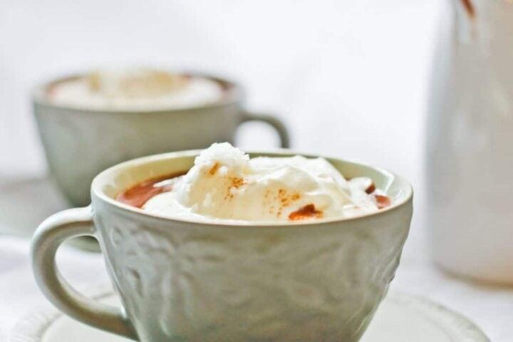 Image of cup of hot chocolate with cream on top.